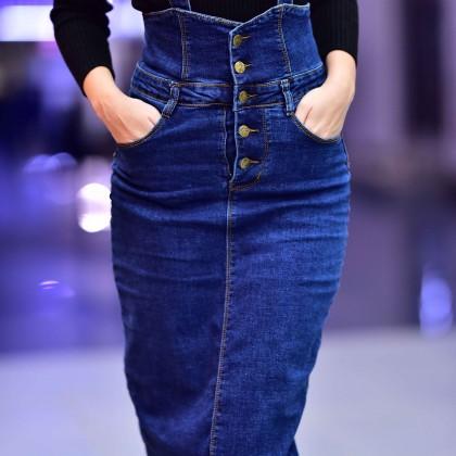 Джинсовая юбка длины миди