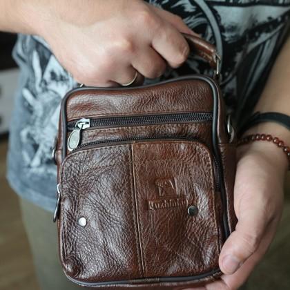 Мужская коричневая кожаная сумка
