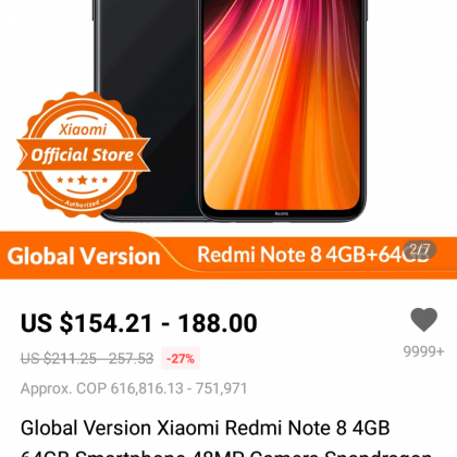 Xiaomi Redmi Note 8 4GB 64GB.