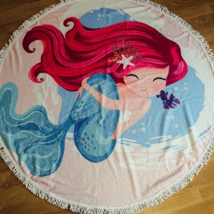 Отличное большое круглое пляжное полотенце