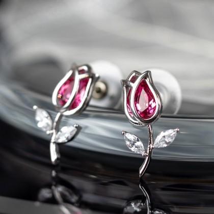 Серебряные сережки в виде тюльпанов