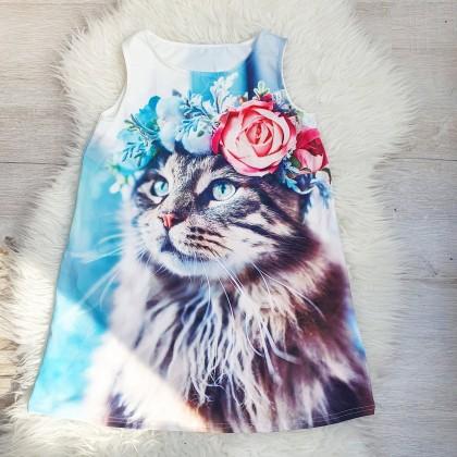 Чудесное платье с изображением котика.