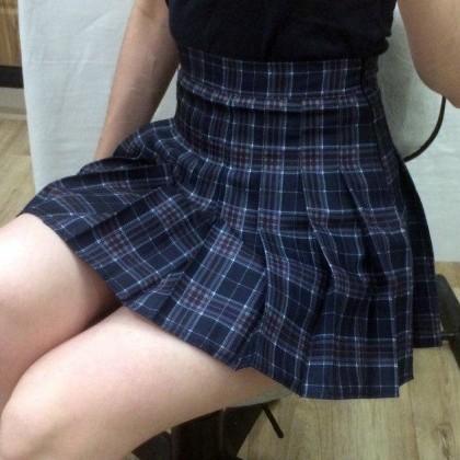 Клетчатая плиссированная юбочка в стиле Харадзюку