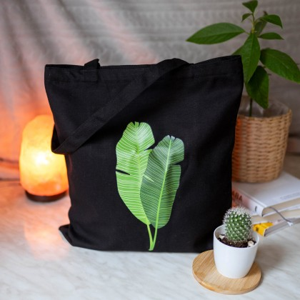 Сумка-шоппер на лето с тропическими листьями