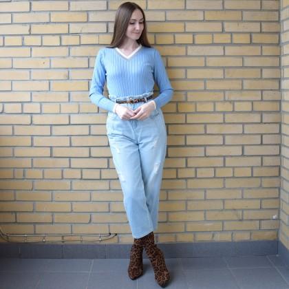 Классический свитер с контрастной отделкой с AliExpress