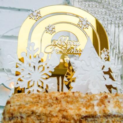 Украшаем новогодний торт при помощи топперов с Алиэкспресс