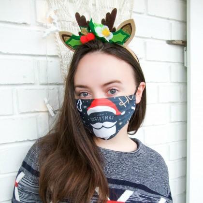Новогодняя защитная маска с карманом для фильтра