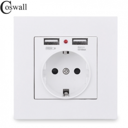 Dual USB Charging Port 5V 2.1A LED Indicator 16A Wall EU Power Socket Outlet