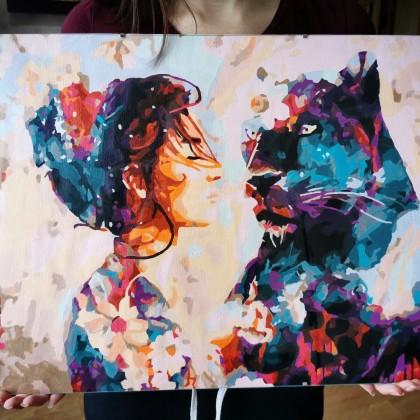 """Картина по номерам """"Девушка и пантера"""""""