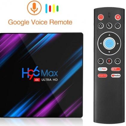 Телевизионная приставка Смарт ТВ с голосовым пультом управления. TV Box H96 Max RK3318