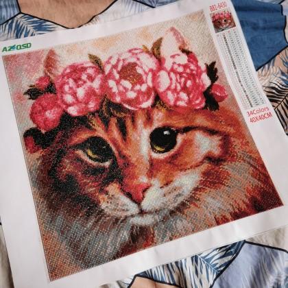 """Алмазная мозаика """"Кот с цветочным венком"""""""