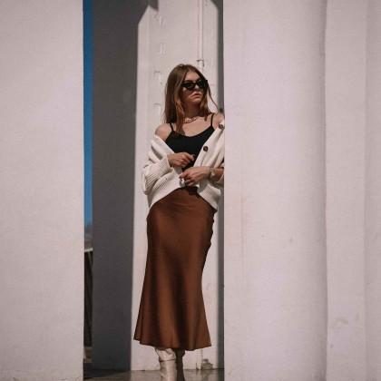 Сатиновая юбка в цвете молочного шоколада