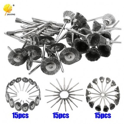 45pcs mini rotary stainless steel wire wheel wire brush.
