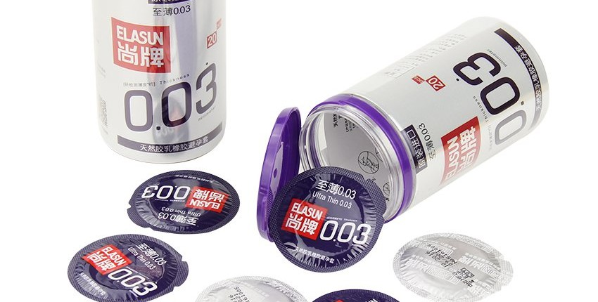 Новые ощущения с ультратонкими презервативами Elasun 0,03 мм.