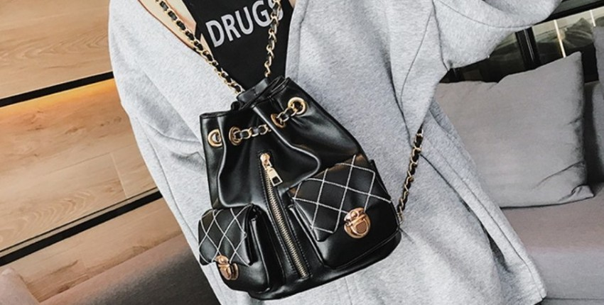 Рюкзачок с цепочками и ремешками