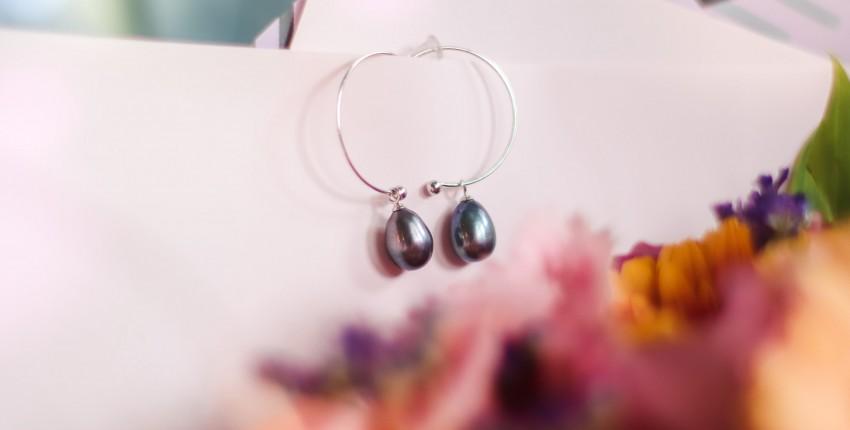 Серебряные серьги с жемчугом  PAGMAG