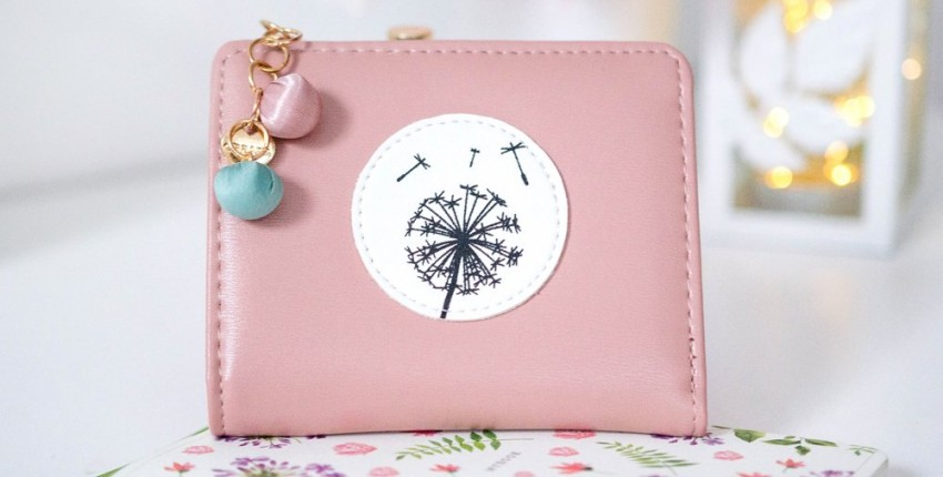 Нежно-розовый кошелек с одуванчиком