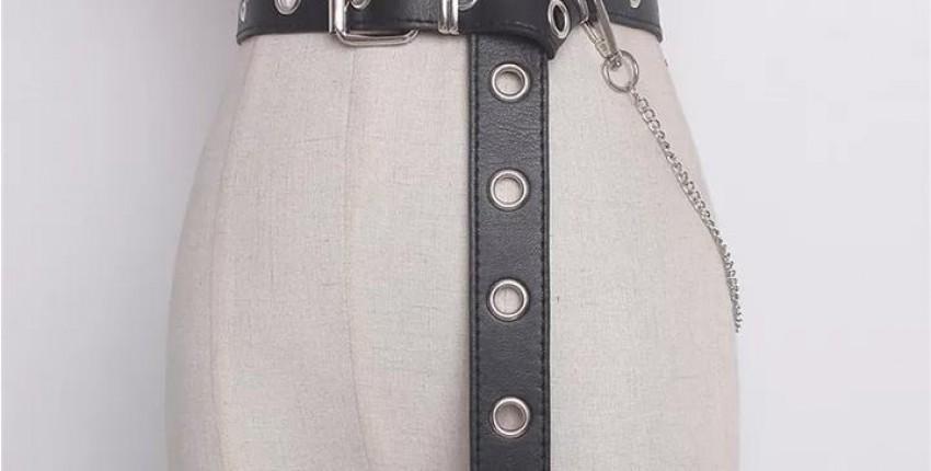 Кожаный ремень с цепью.