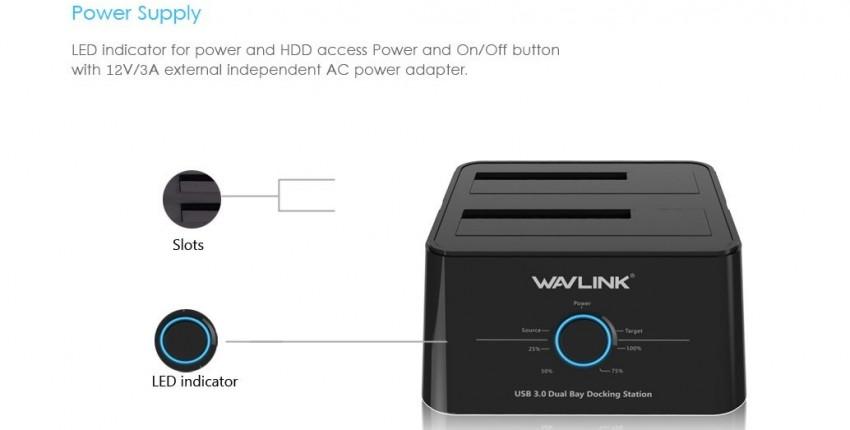 Док-станция Wavlink для HDD/SSD 2,5/3,5 дюймов  двойная USB3.0