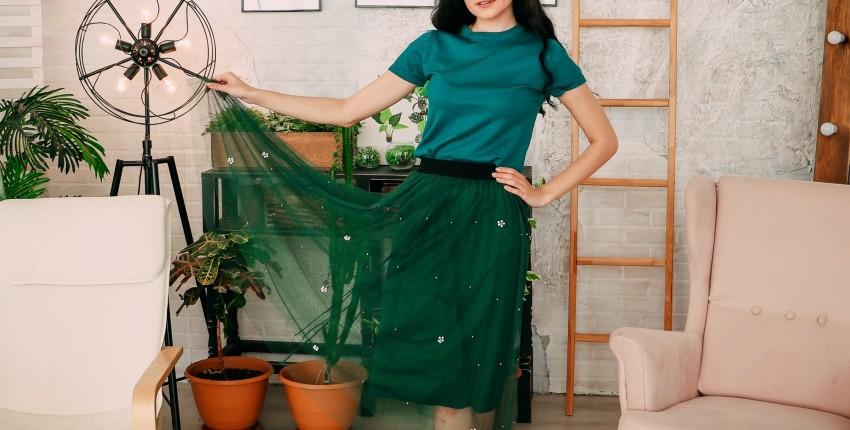 Фатиновая юбка в зеленом цвете Ezsskj