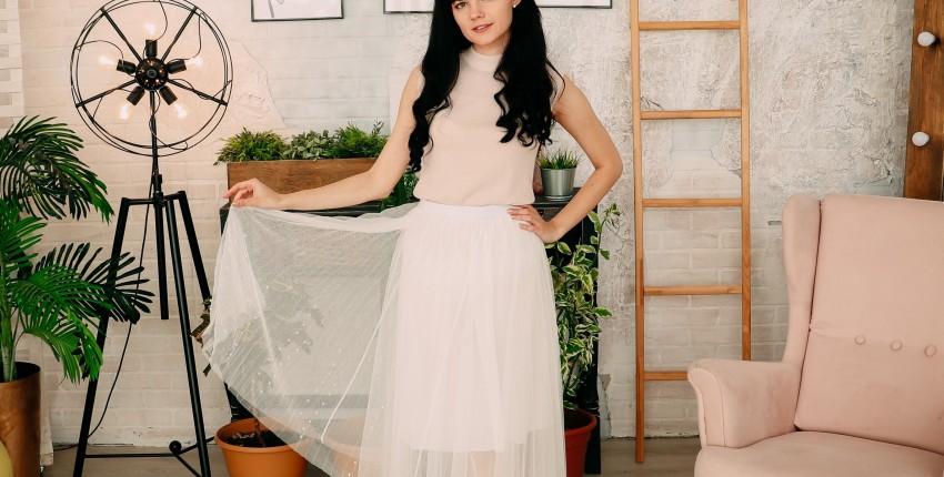 Белая фатиновая юбка с бусинами PADEGAO - отзыв покупателя