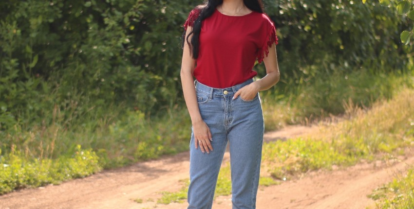 Классные джинсы Мом Luckinyoyo - отзыв покупателя