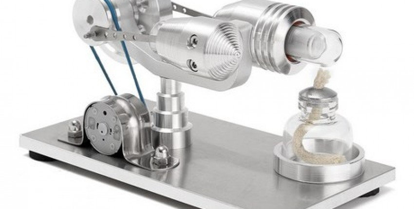 Stainless steel Mini Hot Air Stirling Engine.