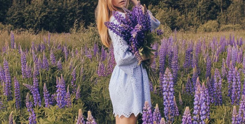 Голубое платье с перфорацией с Алиэкспресс - отзыв покупателя