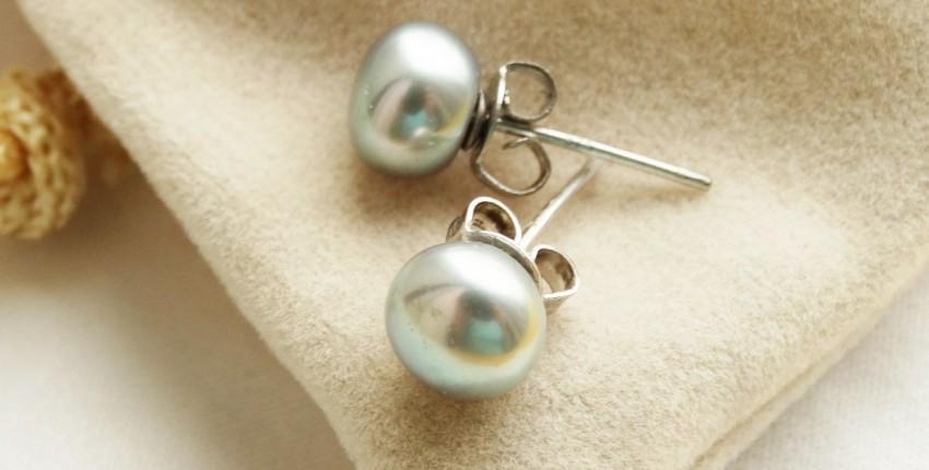 Серебряные серьги-гвоздики Daimi с жемчугом необычного серого оттенка - отзыв покупателя