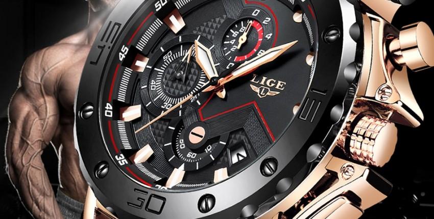 LIGE новые модные мужские спортивные Водонепроницаемые часы лучший бренд класса люкс - отзыв покупателя