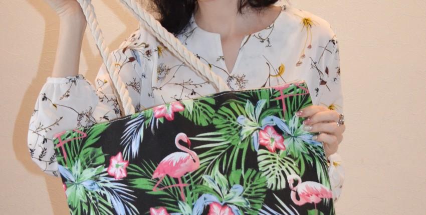 Вместительная сумка с тропическим принтом и розовым фламинго - отзыв покупателя