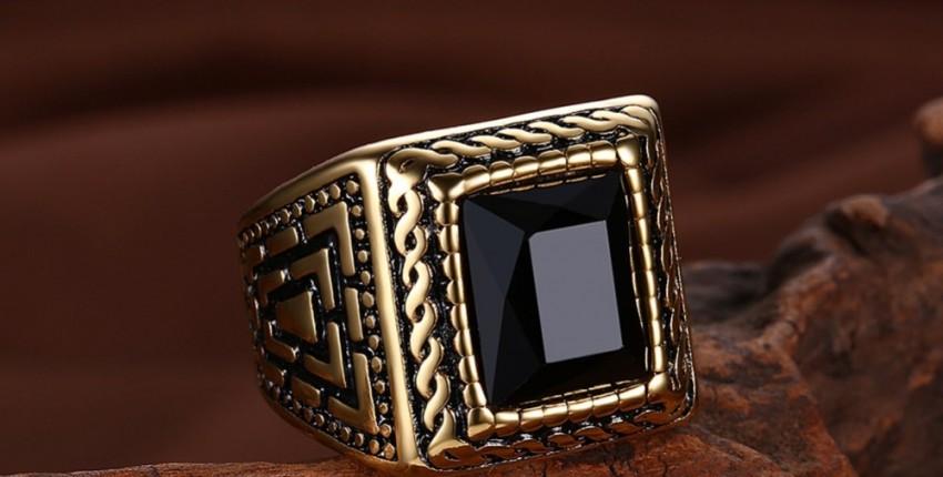Волшебное черное каменное мужское кольцо Signet золотое