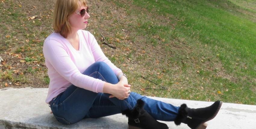Комфортные и качественные замшевые ботинки с опушкой из меха кролика