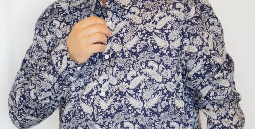 Мужская рубашка с длинным рукавом и интересным, цветочным принтом