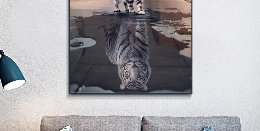 Картина Кот и тигр Алмазная 3d вышивка
