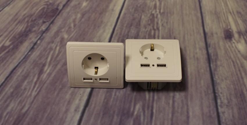 Розетка с заземлением и USB зарядкой