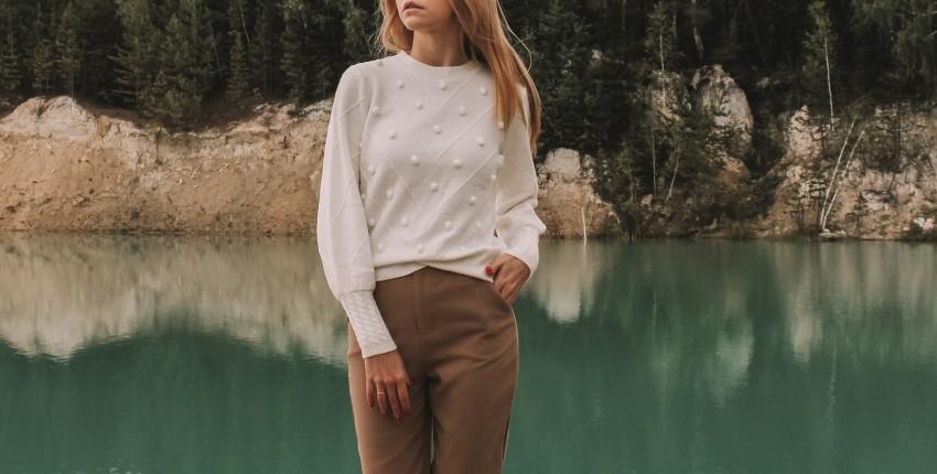 Стильный белый свитерок с Алиэкспресс