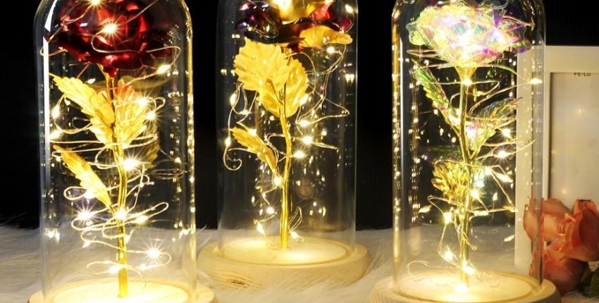 Красная роза в стеклянном куполе на деревянной основе. Лучший подарок. - отзыв покупателя