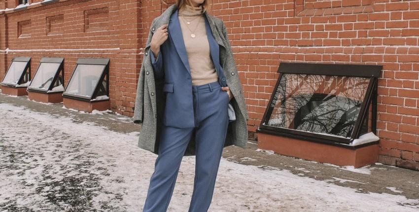 Пыльно-голубой брючный костюм с Алиэкспресс