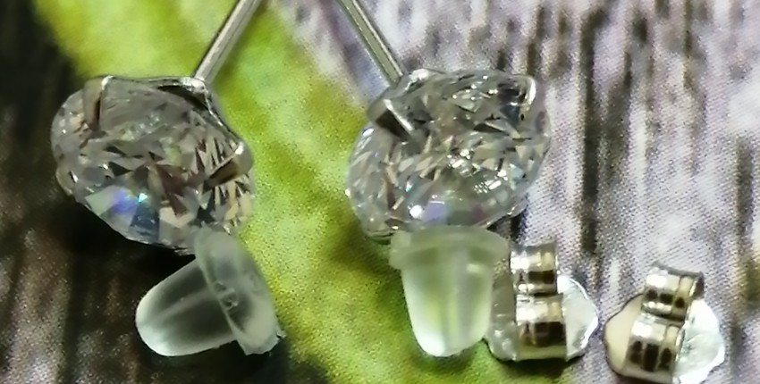 Серебряные серьги-гвоздики с кубическим цирконием стерлингового серебра 925 пробы - отзыв покупателя