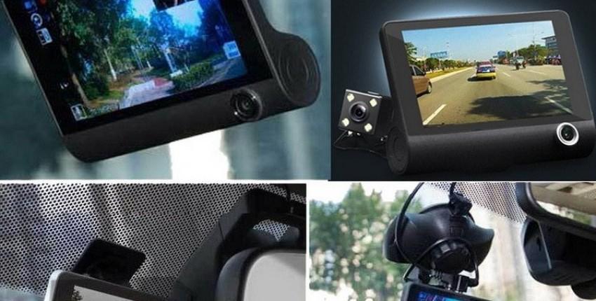Grabadora de vídeo del coche de bajo costo con tres cámaras. - opinión del cliente