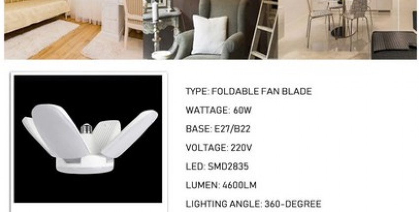 60W Foldable Fan Blade LED Pendant Lights. - User's review