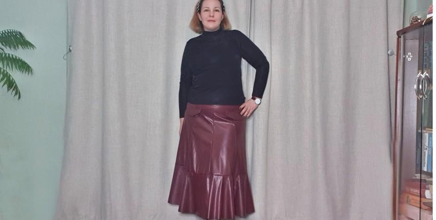 Стильная юбка миди из искусственной кожи - отзыв покупателя