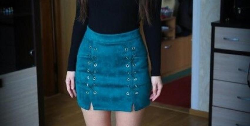 Замшевая юбка на шнуровке с высокой талией - отзыв покупателя