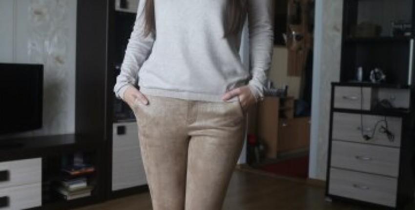 Блестящие брюки цвета хаки - отзыв покупателя
