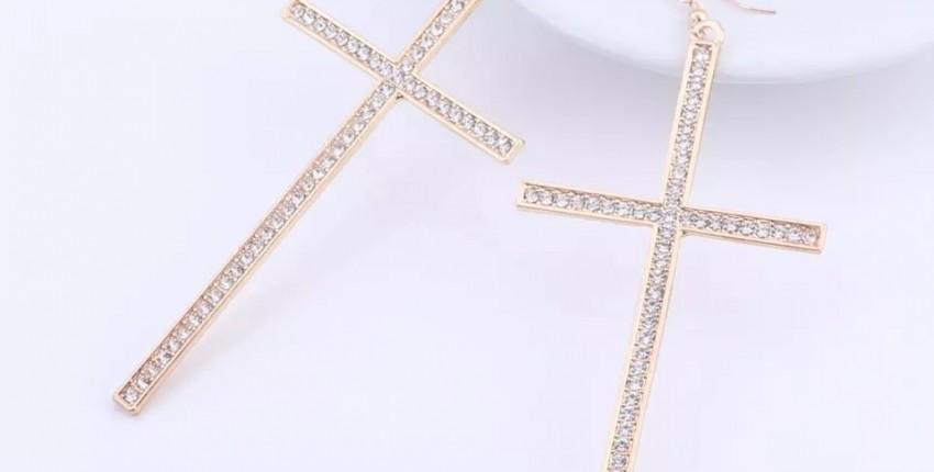 Стильные серьги - кресты с камнями. - отзыв покупателя