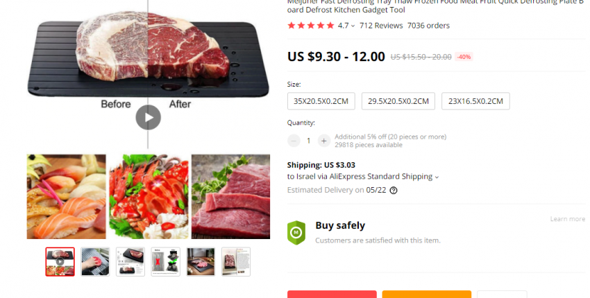 Meijuner Fast Defrosting Tray Thaw Frozen Food Meat Fruit Quick Defrosting Plate Board Defrost Kitch - User's review