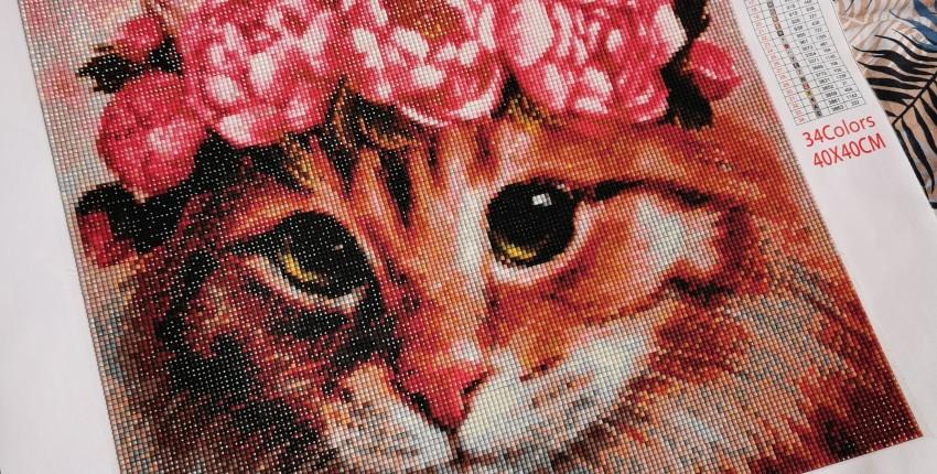 """Алмазная мозаика """"Кот с цветочным венком"""" - отзыв покупателя"""