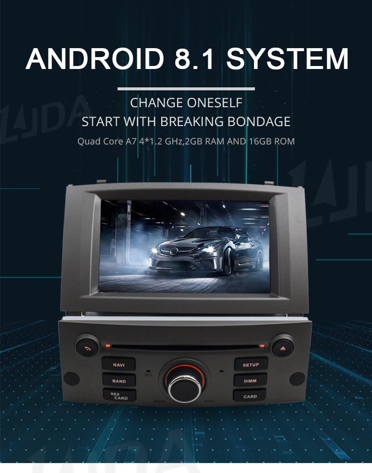 АВТО МАГНИТОЛА для PEUGEOT 407  LJDA 1 Din Android 8,1