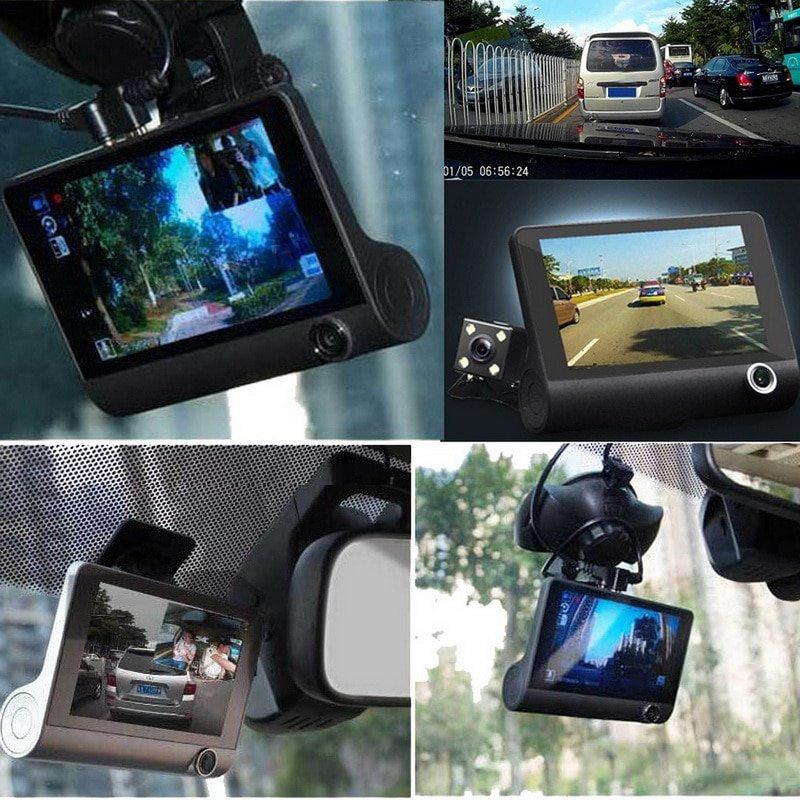 Недорогой автомобильный видеорегистратор с тремя камерами.